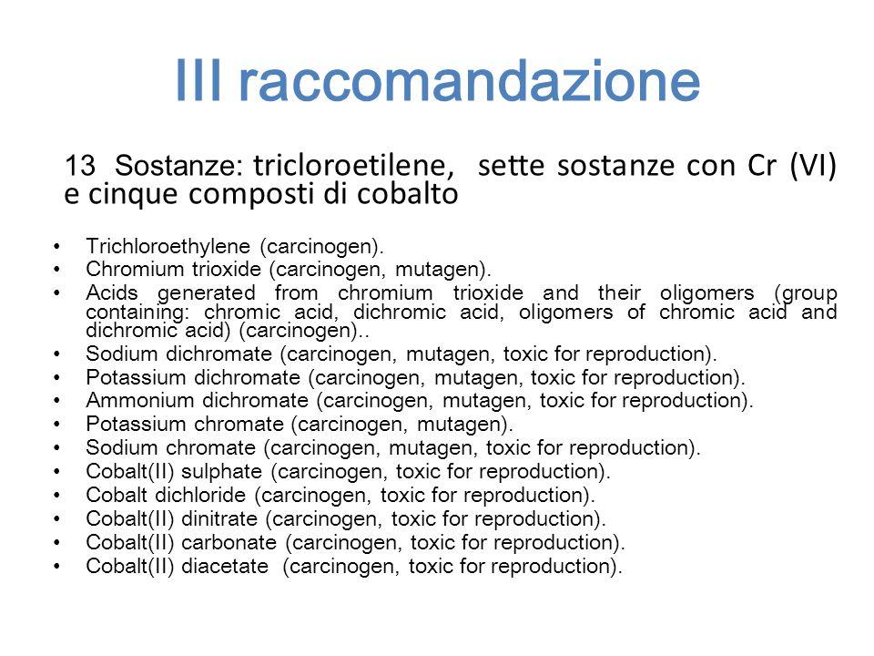 III raccomandazione 13 Sostanze: tricloroetilene, sette sostanze con Cr (VI) e cinque composti di cobalto Trichloroethylene (carcinogen). Chromium tri
