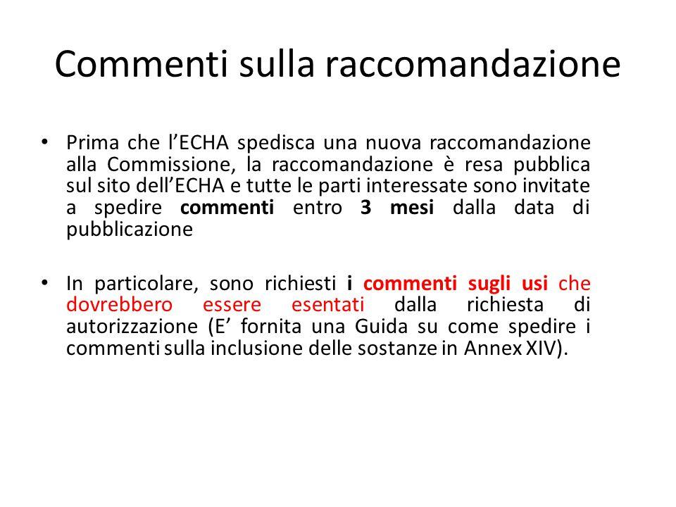 Commenti sulla raccomandazione Prima che l'ECHA spedisca una nuova raccomandazione alla Commissione, la raccomandazione è resa pubblica sul sito dell'
