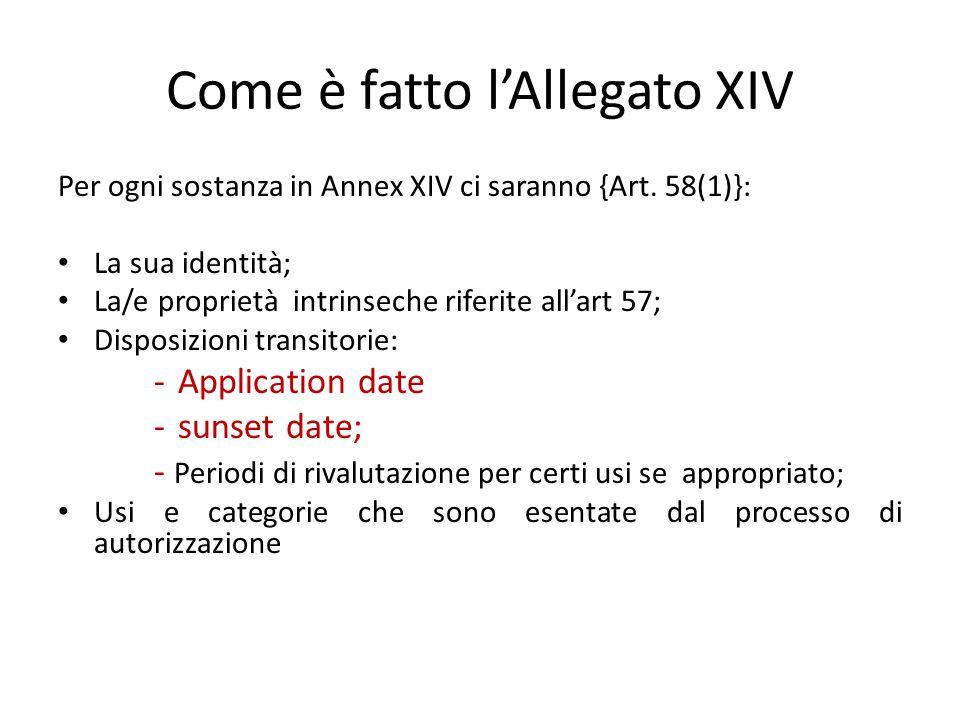 Come è fatto l'Allegato XIV Per ogni sostanza in Annex XIV ci saranno {Art. 58(1)}: La sua identità; La/e proprietà intrinseche riferite all'art 57; D