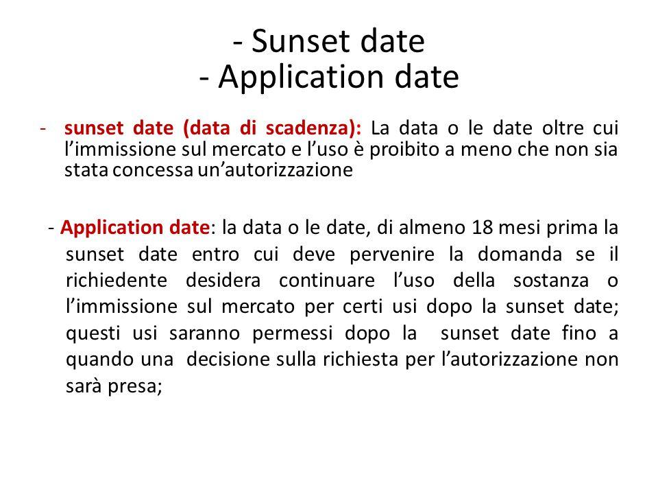 - Sunset date - Application date -sunset date (data di scadenza): La data o le date oltre cui l'immissione sul mercato e l'uso è proibito a meno che n