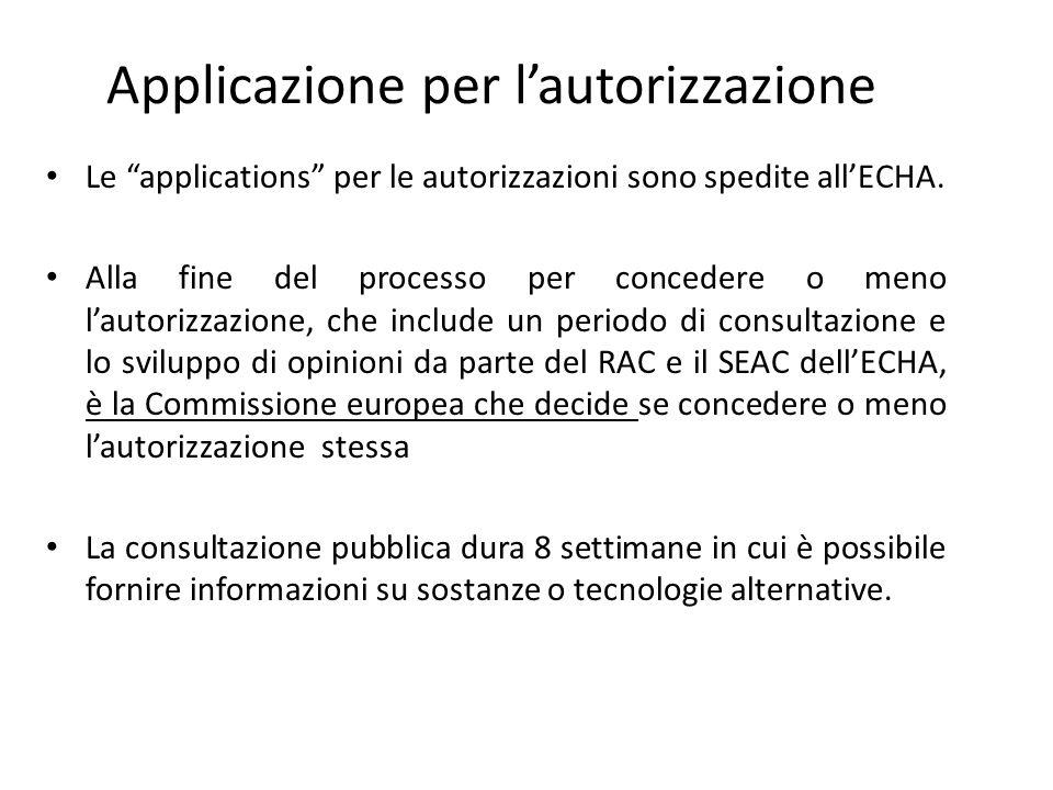"""Applicazione per l'autorizzazione Le """"applications"""" per le autorizzazioni sono spedite all'ECHA. Alla fine del processo per concedere o meno l'autoriz"""