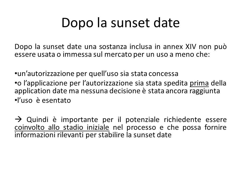 Dopo la sunset date Dopo la sunset date una sostanza inclusa in annex XIV non può essere usata o immessa sul mercato per un uso a meno che: un'autoriz
