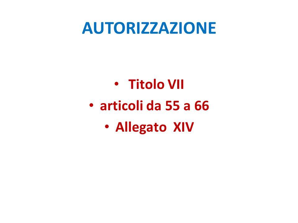 AUTORIZZAZIONE Titolo VII articoli da 55 a 66 Allegato XIV
