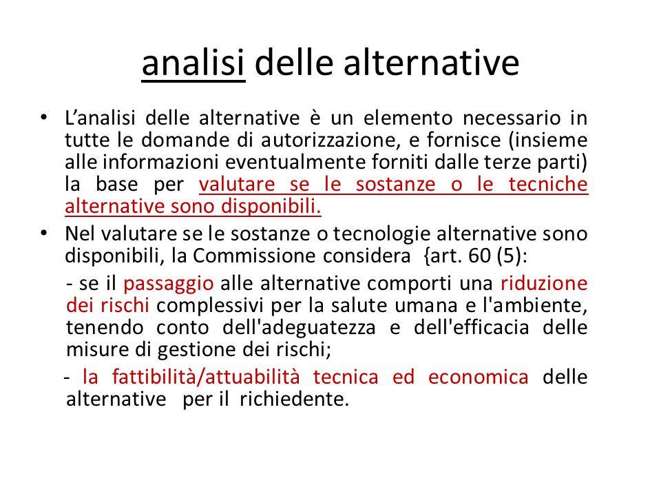 analisi delle alternative L'analisi delle alternative è un elemento necessario in tutte le domande di autorizzazione, e fornisce (insieme alle informa