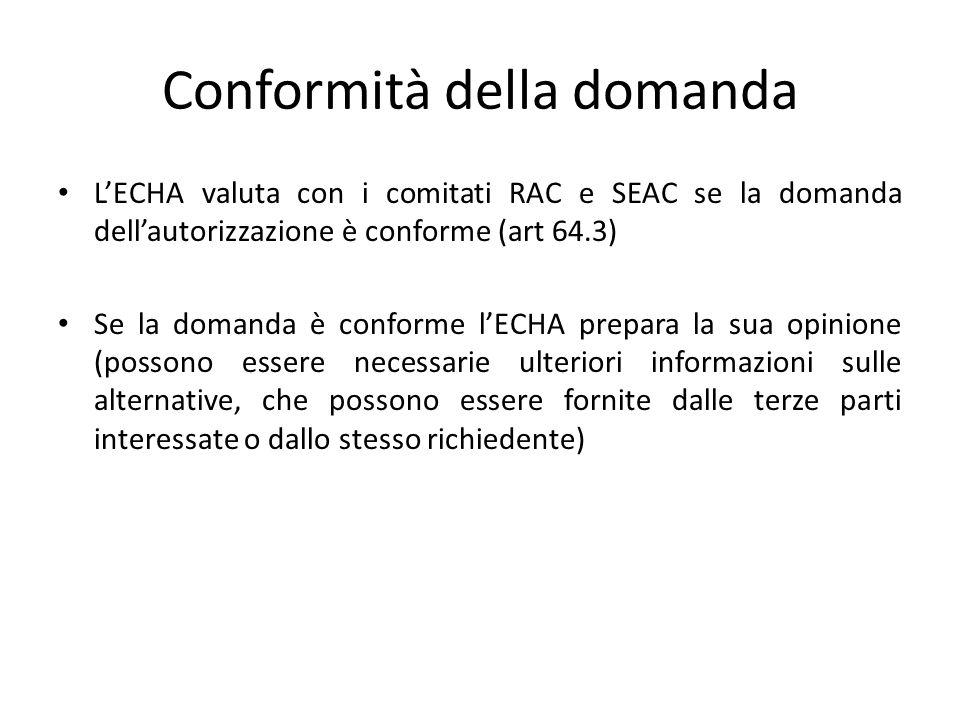 Conformità della domanda L'ECHA valuta con i comitati RAC e SEAC se la domanda dell'autorizzazione è conforme (art 64.3) Se la domanda è conforme l'EC