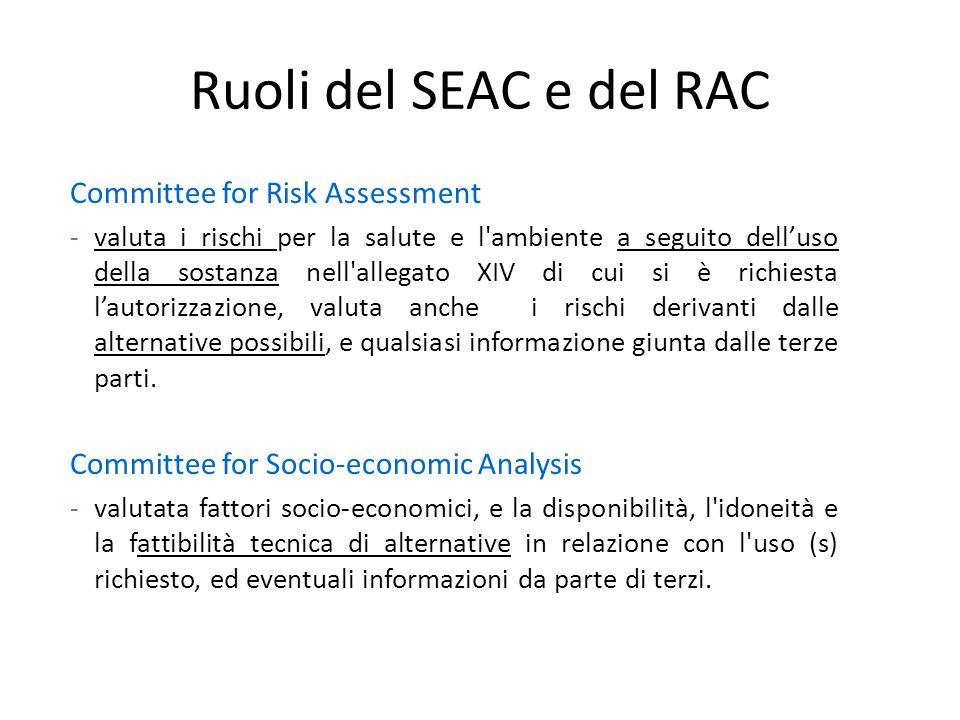 Ruoli del SEAC e del RAC Committee for Risk Assessment -valuta i rischi per la salute e l'ambiente a seguito dell'uso della sostanza nell'allegato XIV