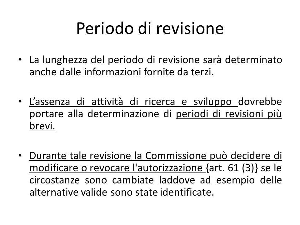 Periodo di revisione La lunghezza del periodo di revisione sarà determinato anche dalle informazioni fornite da terzi. L'assenza di attività di ricerc