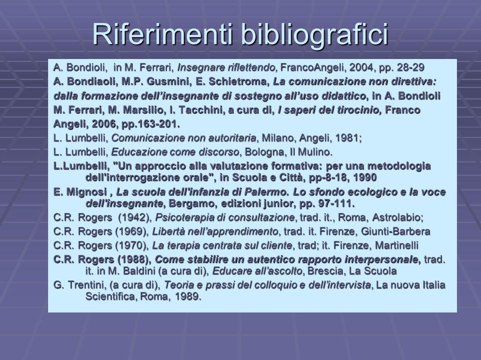 Riferimenti bibliografici A. Bondioli, in M. Ferrari, Insegnare riflettendo, FrancoAngeli, 2004, pp. 28-29 A. Bondiaoli, M.P. Gusmini, E. Schietroma,