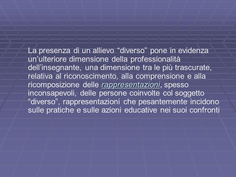"""rappresentazioni La presenza di un allievo """"diverso"""" pone in evidenza un'ulteriore dimensione della professionalità dell'insegnante, una dimensione tr"""