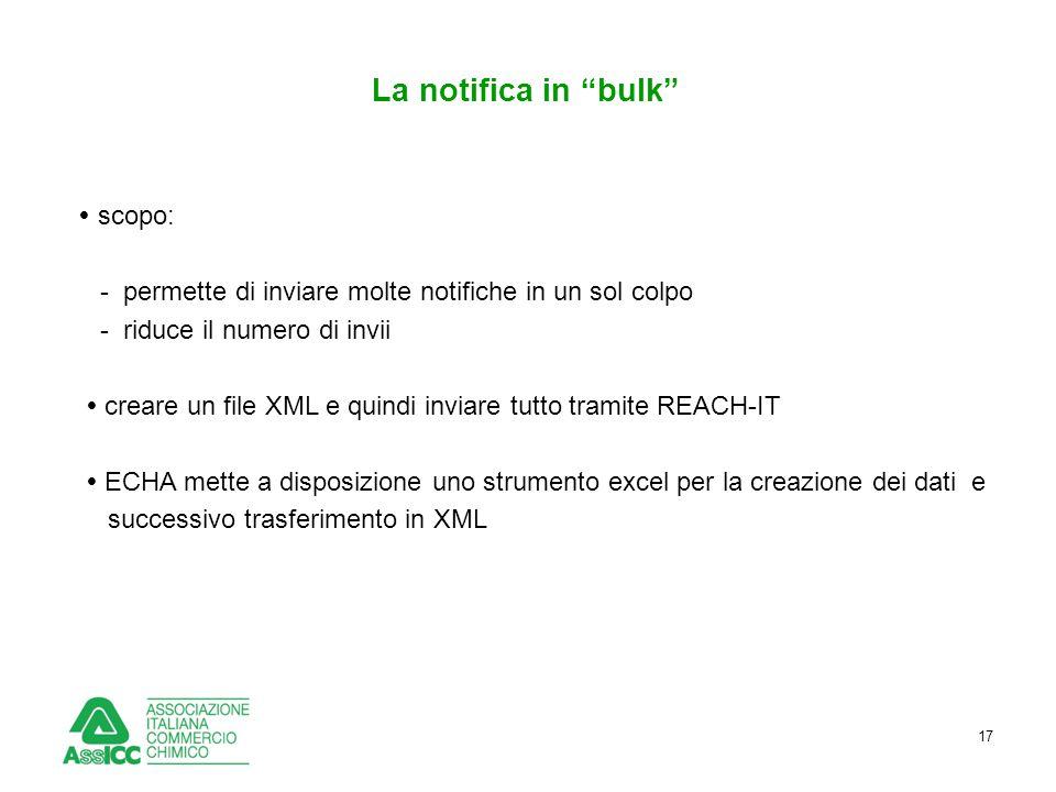 """17 La notifica in """"bulk""""  scopo: - permette di inviare molte notifiche in un sol colpo - riduce il numero di invii  creare un file XML e quindi invi"""