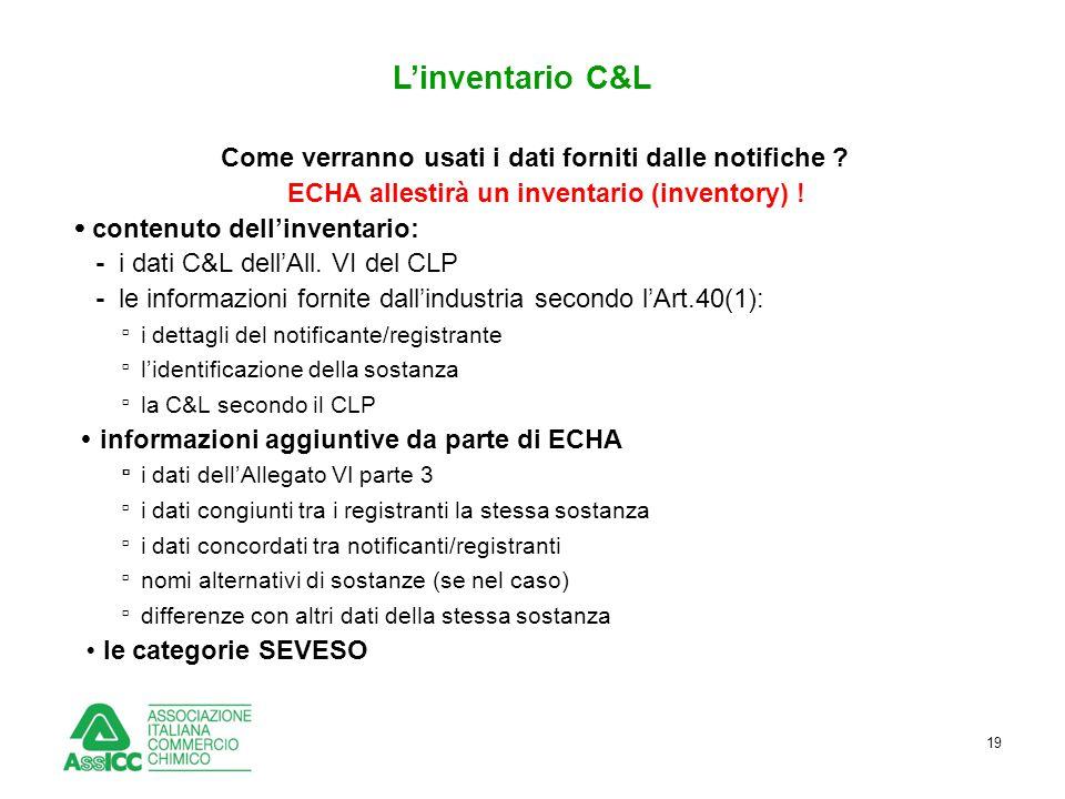 19 L'inventario C&L Come verranno usati i dati forniti dalle notifiche ? ECHA allestirà un inventario (inventory) !  contenuto dell'inventario: - i d