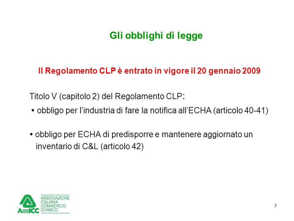 3 Gli obblighi di legge Il Regolamento CLP è entrato in vigore il 20 gennaio 2009 Titolo V (capitolo 2) del Regolamento CLP :  obbligo per l'industri