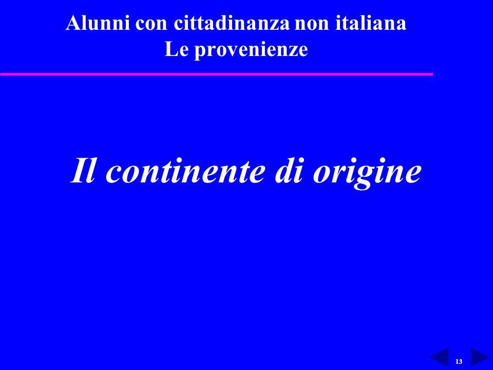 13 Alunni con cittadinanza non italiana Le provenienze Il continente di origine