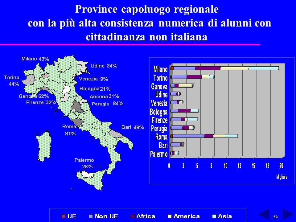 32 Province capoluogo regionale con la più alta consistenza numerica di alunni con cittadinanza non italiana