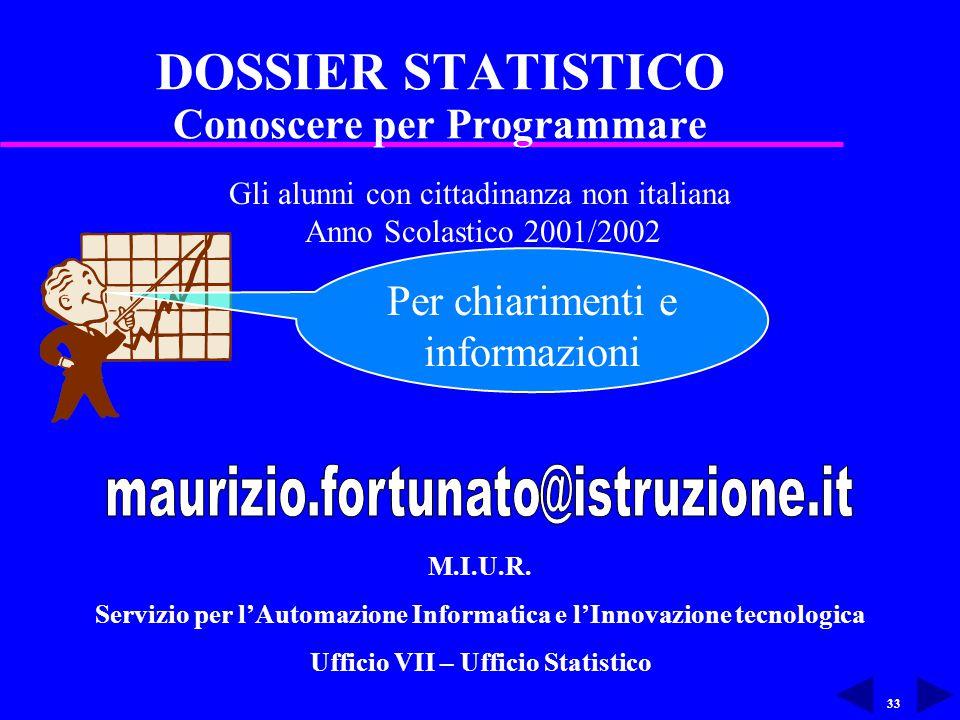 33 DOSSIER STATISTICO Conoscere per Programmare Gli alunni con cittadinanza non italiana Anno Scolastico 2001/2002 Per chiarimenti e informazioni M.I.U.R.