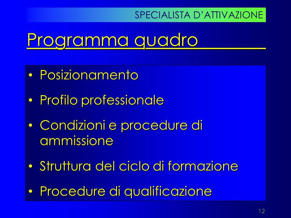12 Posizionamento Posizionamento Profilo professionale Profilo professionale Condizioni e procedure di ammissione Condizioni e procedure di ammissione