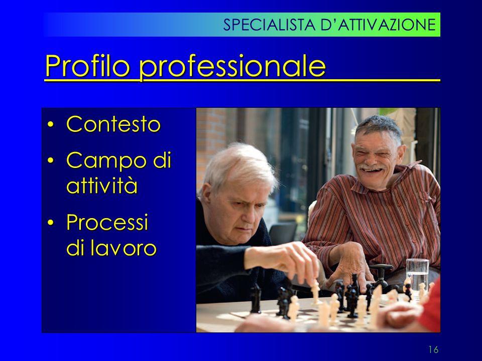16 Contesto Contesto Campo di attività Campo di attività Processi di lavoro Processi di lavoro SPECIALISTA D'ATTIVAZIONE Profilo professionale