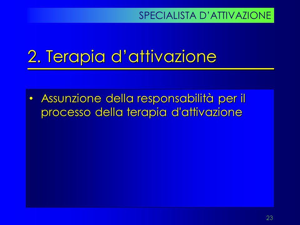 23 Assunzione della responsabilità per il processo della terapia d'attivazione Assunzione della responsabilità per il processo della terapia d'attivaz