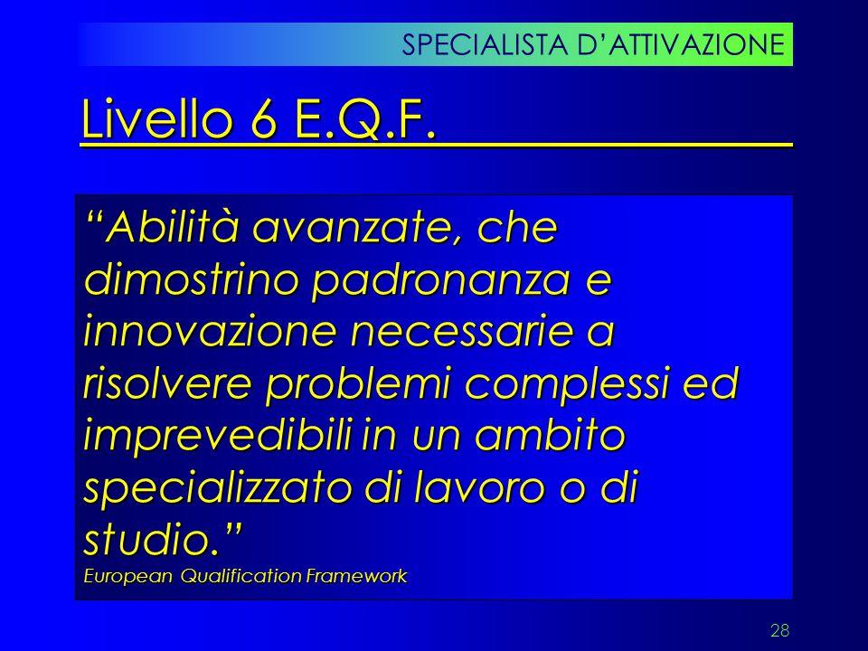 """28 """"Abilità avanzate, che dimostrino padronanza e innovazione necessarie a risolvere problemi complessi ed imprevedibili in un ambito specializzato di"""