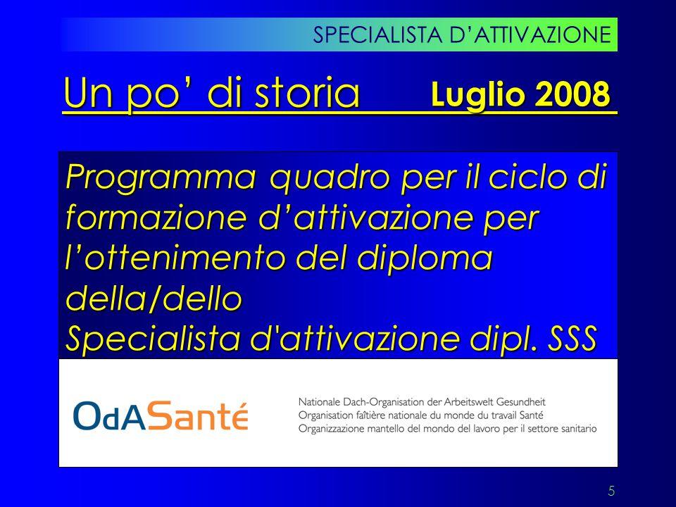 6 Programma quadro SA dipl. SSS SPECIALISTA D'ATTIVAZIONE Un po' di storia Luglio 2008
