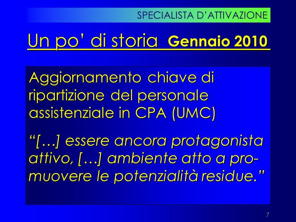 """7 Aggiornamento chiave di ripartizione del personale assistenziale in CPA (UMC) """"[…] essere ancora protagonista attivo, […] ambiente atto a pro- muove"""