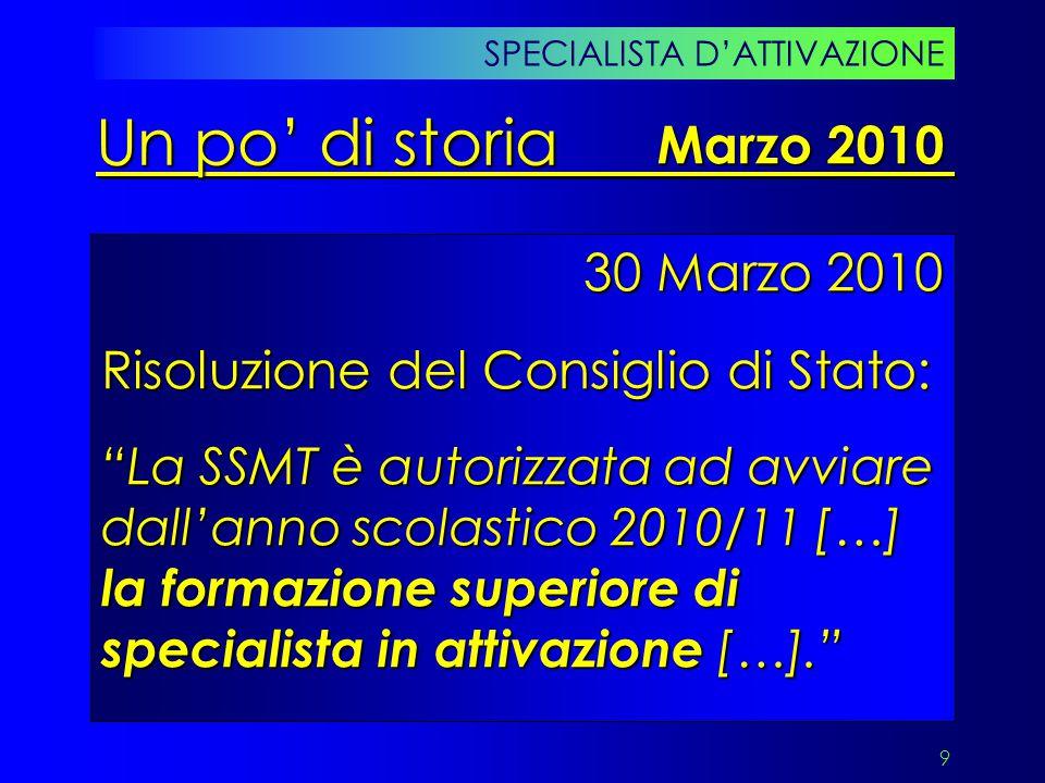 """9 30 Marzo 2010 Risoluzione del Consiglio di Stato: """"La SSMT è autorizzata ad avviare dall'anno scolastico 2010/11 […] la formazione superiore di spec"""