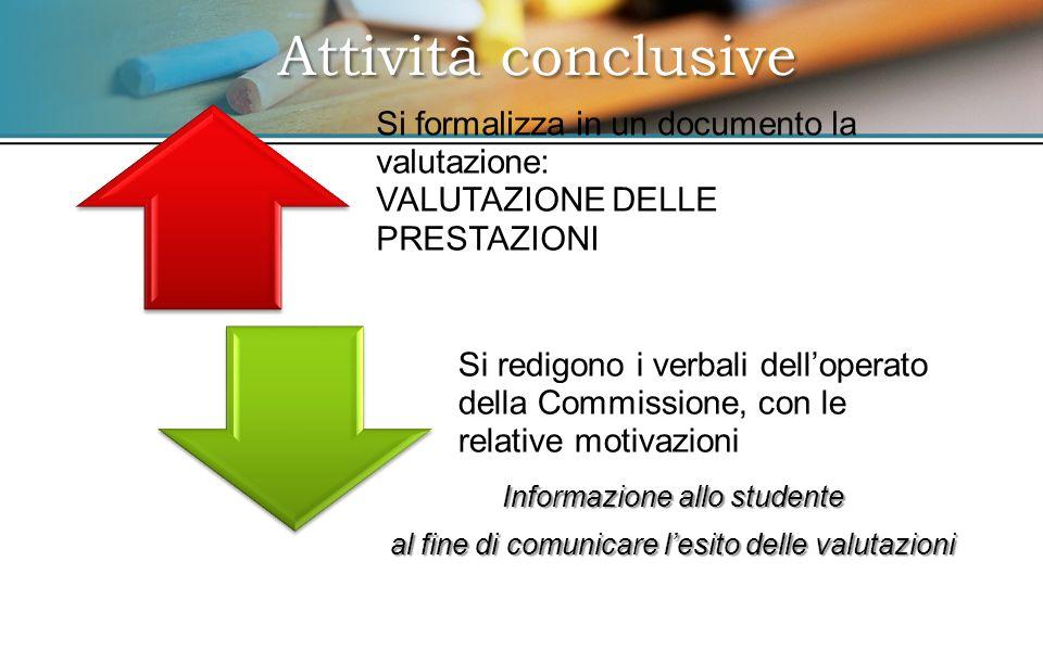 Informazione allo studente al fine di comunicare l'esito delle valutazioni Attività conclusive Si formalizza in un documento la valutazione: VALUTAZIONE DELLE PRESTAZIONI Si redigono i verbali dell'operato della Commissione, con le relative motivazioni