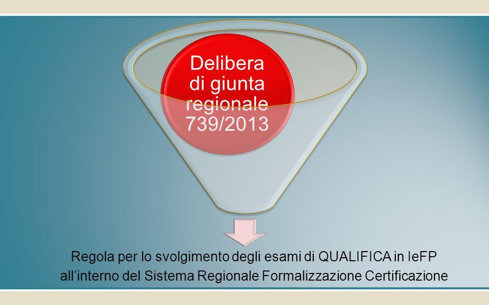 Regola per lo svolgimento degli esami di QUALIFICA in IeFP all'interno del Sistema Regionale Formalizzazione Certificazione Delibera di giunta regionale 739/2013
