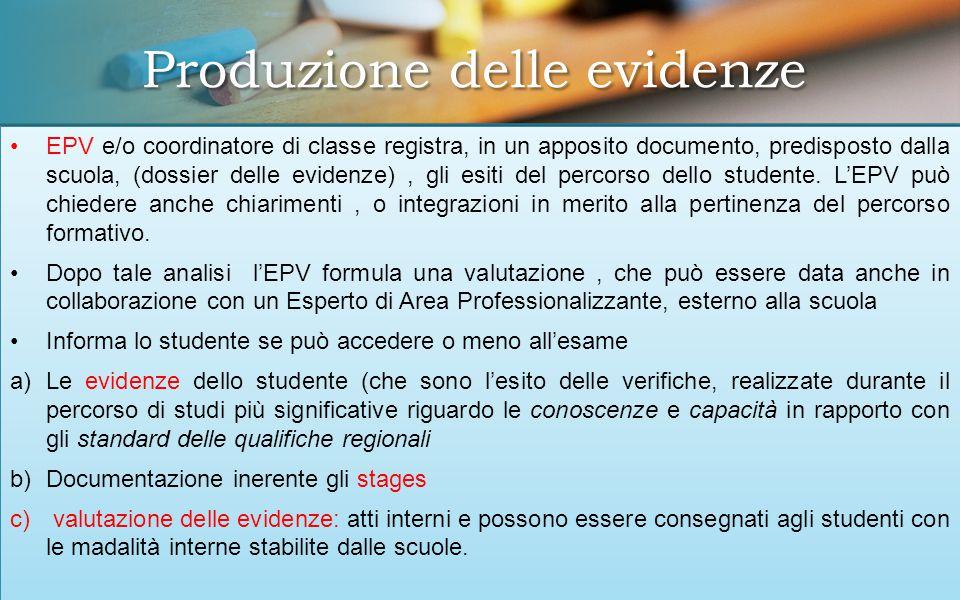 EPV e/o coordinatore di classe registra, in un apposito documento, predisposto dalla scuola, (dossier delle evidenze), gli esiti del percorso dello studente.