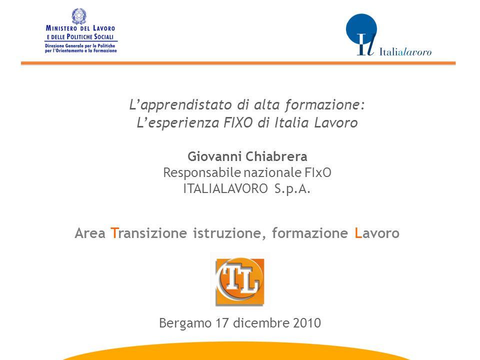 Area Transizione istruzione, formazione Lavoro L'apprendistato di alta formazione: L'esperienza FIXO di Italia Lavoro Giovanni Chiabrera Responsabile