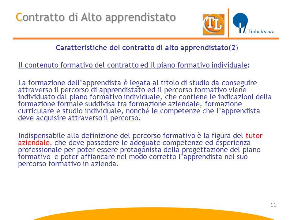 11 Contratto di Alto apprendistato Caratteristiche del contratto di alto apprendistato(2) Il contenuto formativo del contratto ed il piano formativo i