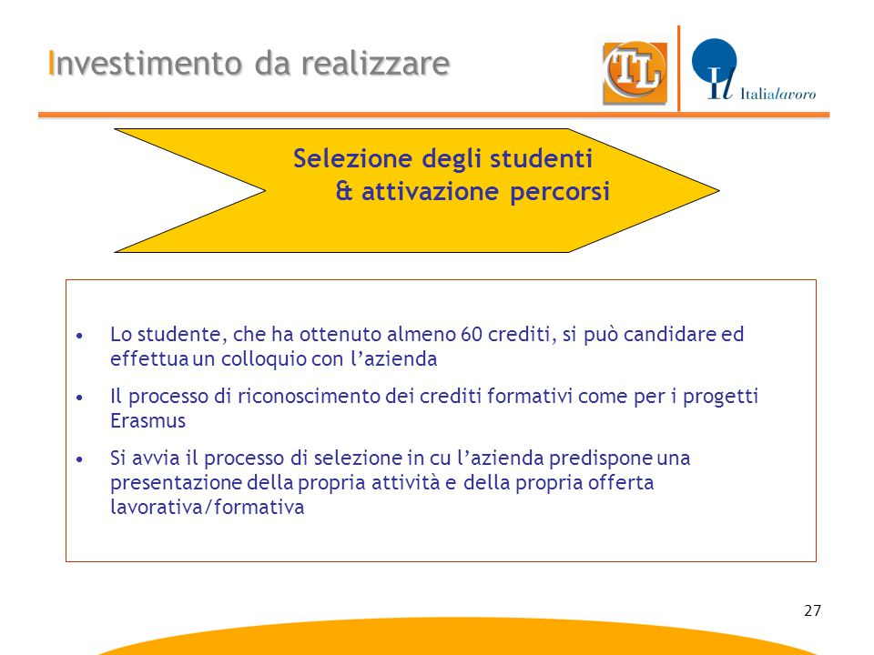 27 Investimento da realizzare Lo studente, che ha ottenuto almeno 60 crediti, si può candidare ed effettua un colloquio con l'azienda Il processo di r