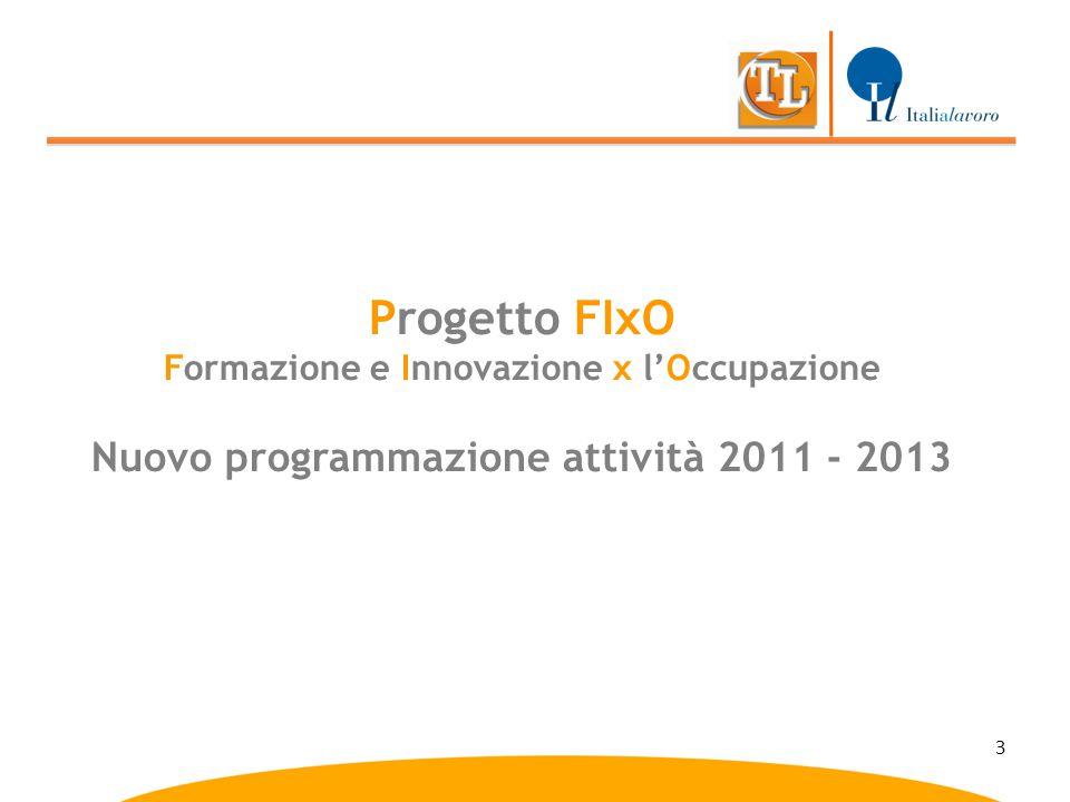 3 Progetto FIxO Formazione e Innovazione x l'Occupazione Nuovo programmazione attività 2011 - 2013