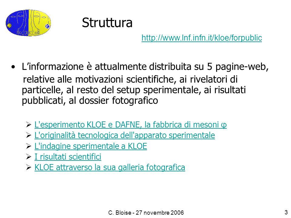 C. Bloise - 27 novembre 2006 3 L'informazione è attualmente distribuita su 5 pagine-web, relative alle motivazioni scientifiche, ai rivelatori di part