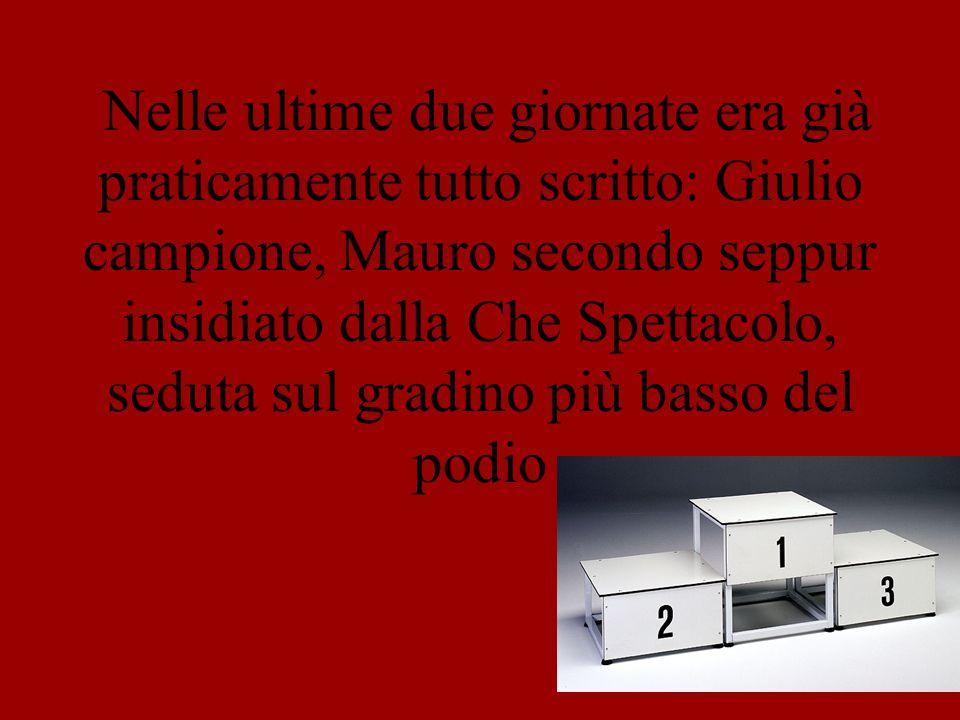 Nelle ultime due giornate era già praticamente tutto scritto: Giulio campione, Mauro secondo seppur insidiato dalla Che Spettacolo, seduta sul gradino più basso del podio
