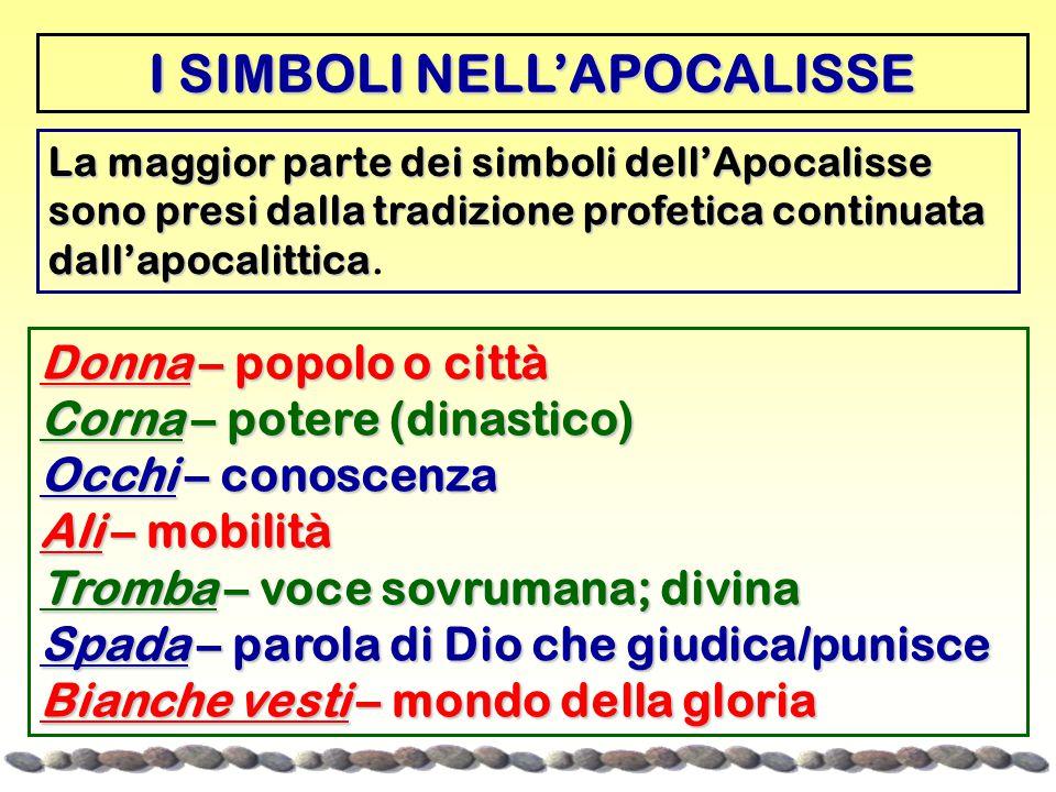 La maggior parte dei simboli dell'Apocalisse sono presi dalla tradizione profetica continuata dall'apocalittica La maggior parte dei simboli dell'Apocalisse sono presi dalla tradizione profetica continuata dall'apocalittica.