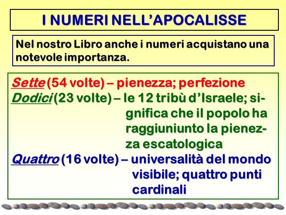 Nel nostro Libro anche i numeri acquistano una notevole importanza. I NUMERI NELL'APOCALISSE Sette (54 volte) – pienezza; perfezione Dodici (23 volte)