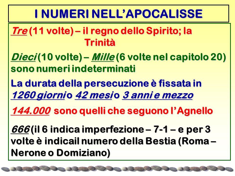 I NUMERI NELL'APOCALISSE Tre (11 volte) – il regno dello Spirito; la Trinità Trinità Dieci (10 volte) – Mille (6 volte nel capitolo 20) sono numeri indeterminati La durata della persecuzione è fissata in 1260 giorni o 42 mesi o 3 anni e mezzo 144.000 sono quelli che seguono l'Agnello 666 (il 6 indica imperfezione – 7-1 – e per 3 volte è indicail numero della Bestia (Roma – Nerone o Domiziano)