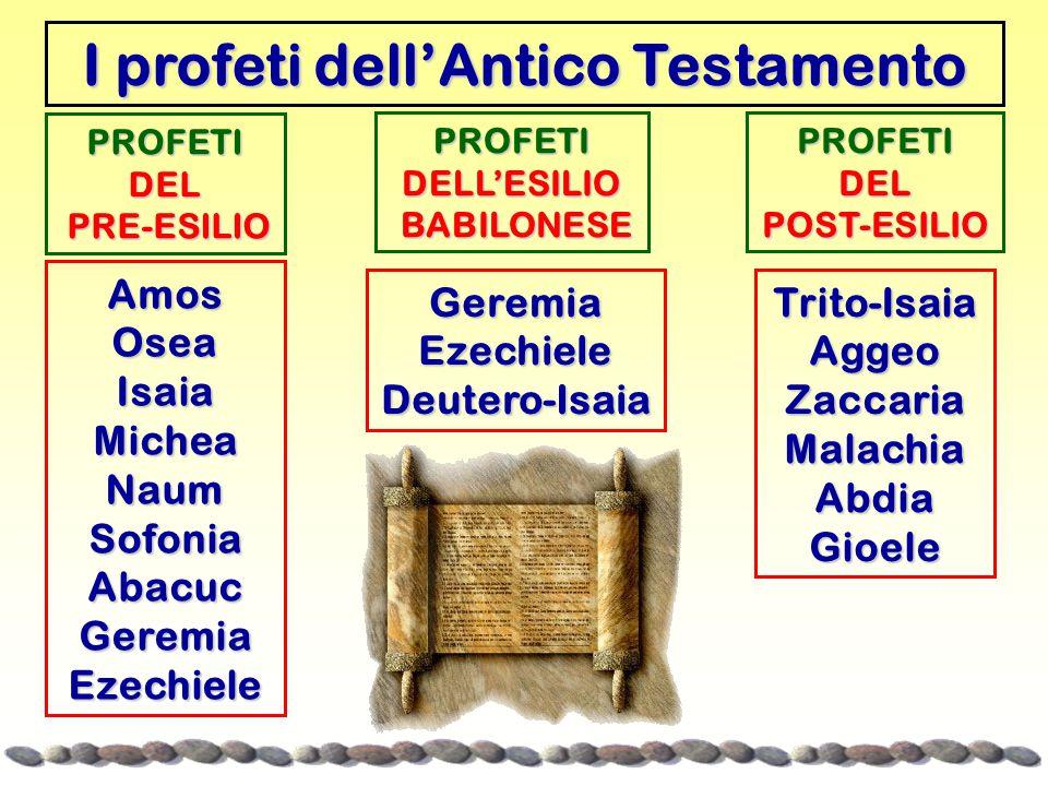 I profeti dell'Antico Testamento PROFETIDEL PRE-ESILIO PRE-ESILIO AmosOseaIsaiaMicheaNaumSofoniaAbacucGeremiaEzechiele PROFETIDELL'ESILIO BABILONESE BABILONESE GeremiaEzechieleDeutero-Isaia PROFETIDELPOST-ESILIO Trito-IsaiaAggeoZaccariaMalachiaAbdiaGioele