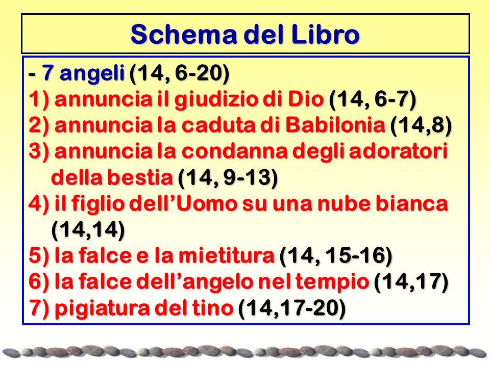Schema del Libro - 7 angeli (14, 6-20) 1) annuncia il giudizio di Dio (14, 6-7) 2) annuncia la caduta di Babilonia (14,8) 3) annuncia la condanna degli adoratori della bestia (14, 9-13) della bestia (14, 9-13) 4) il figlio dell'Uomo su una nube bianca (14,14) (14,14) 5) la falce e la mietitura (14, 15-16) 6) la falce dell'angelo nel tempio (14,17) 7) pigiatura del tino (14,17-20)