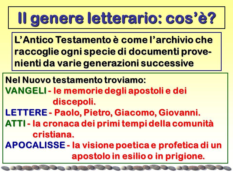 Il genere letterario: cos'è? Nel Nuovo testamento troviamo: VANGELI - le memorie degli apostoli e dei discepoli. discepoli. LETTERE - Paolo, Pietro, G