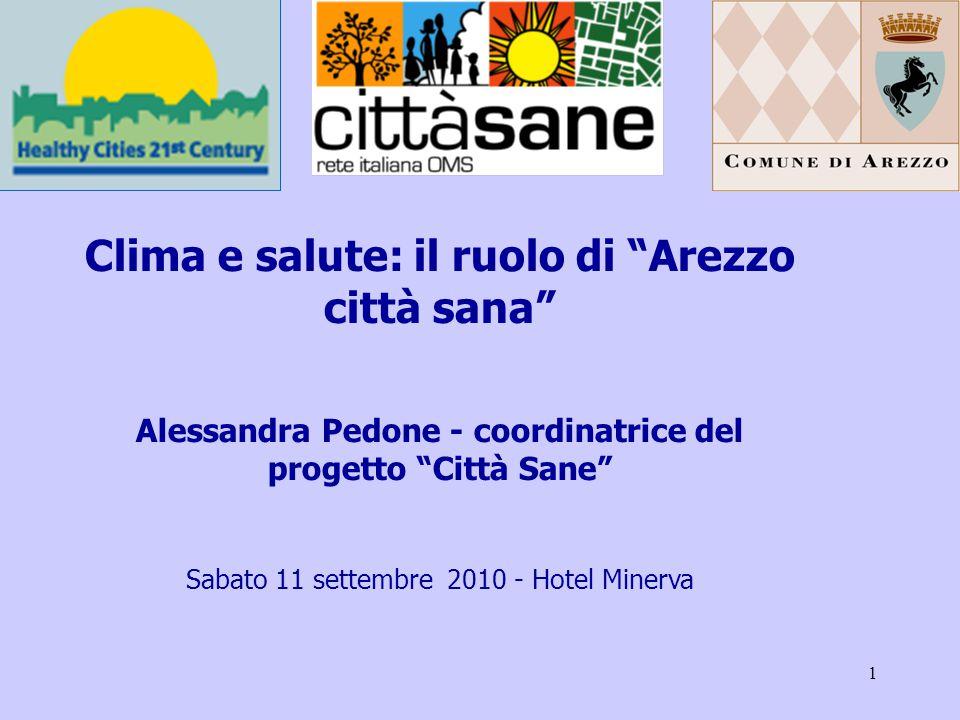 1 Clima e salute: il ruolo di Arezzo città sana Alessandra Pedone - coordinatrice del progetto Città Sane Sabato 11 settembre 2010 - Hotel Minerva