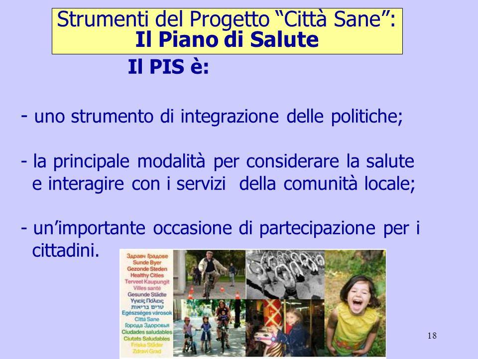 18 Il PIS è: - uno strumento di integrazione delle politiche; - la principale modalità per considerare la salute e interagire con i servizi della comunità locale; - un'importante occasione di partecipazione per i cittadini.