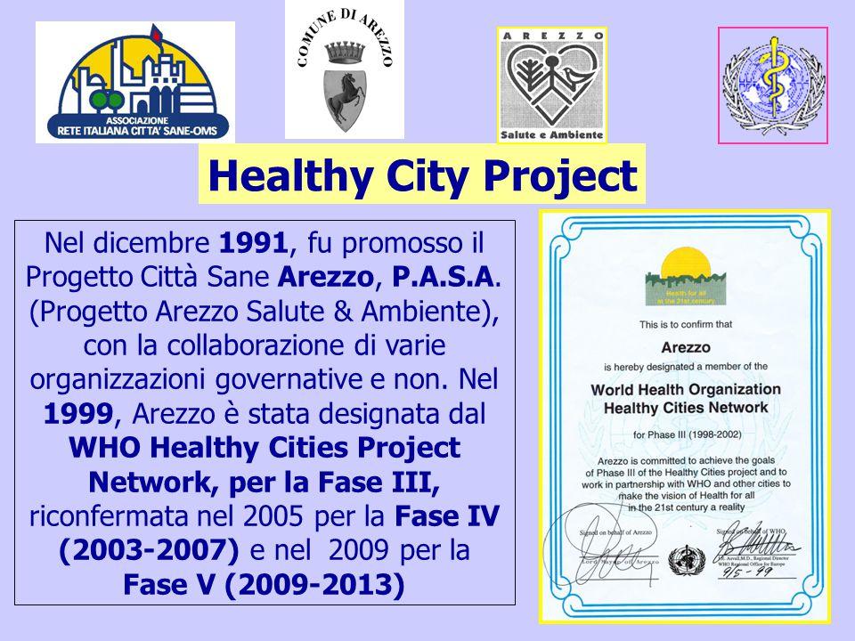 5 Healthy City Project Nel dicembre 1991, fu promosso il Progetto Città Sane Arezzo, P.A.S.A.