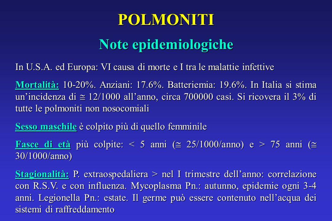 POLMONITI Note epidemiologiche In U.S.A.