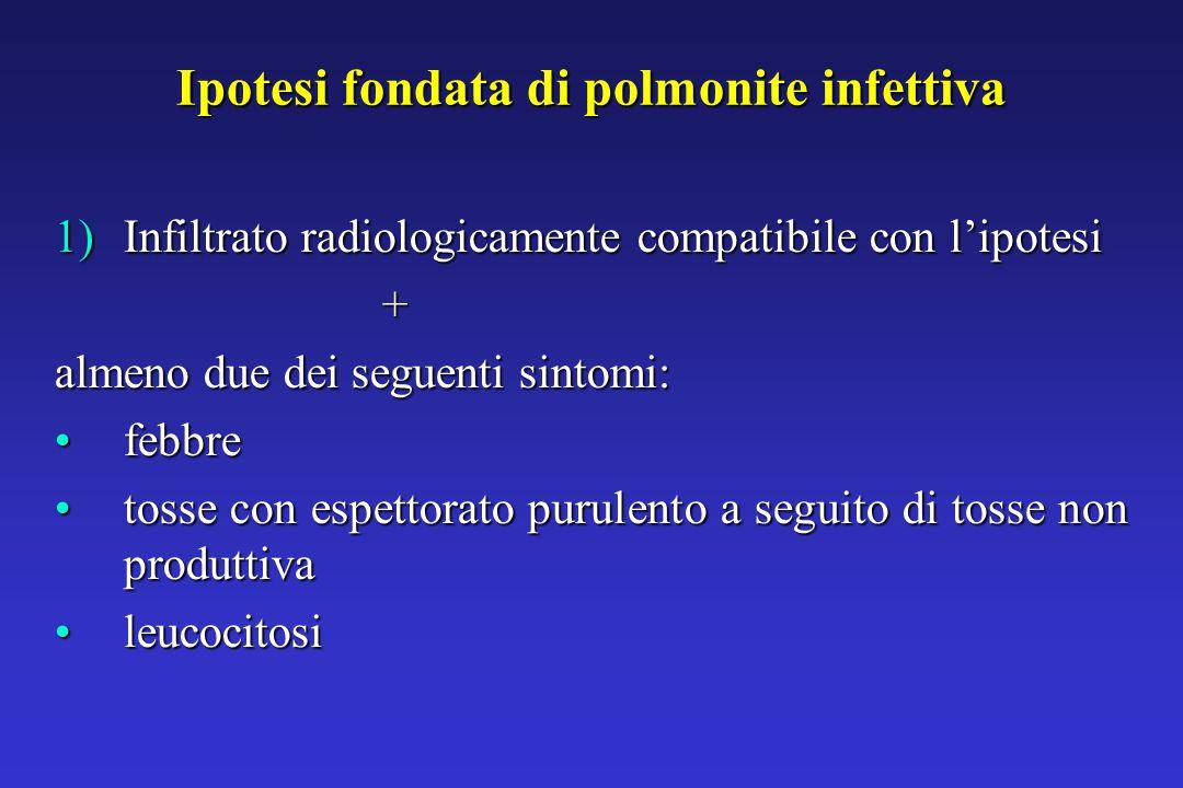 Ipotesi fondata di polmonite infettiva 1)Infiltrato radiologicamente compatibile con l'ipotesi + almeno due dei seguenti sintomi: febbrefebbre tosse con espettorato purulento a seguito di tosse non produttivatosse con espettorato purulento a seguito di tosse non produttiva leucocitosileucocitosi