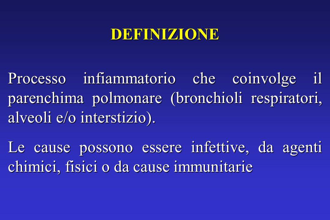 DEFINIZIONE Processo infiammatorio che coinvolge il parenchima polmonare (bronchioli respiratori, alveoli e/o interstizio).