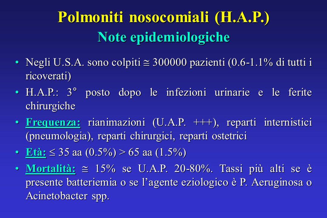 Polmoniti nosocomiali (H.A.P.) Note epidemiologiche Negli U.S.A.
