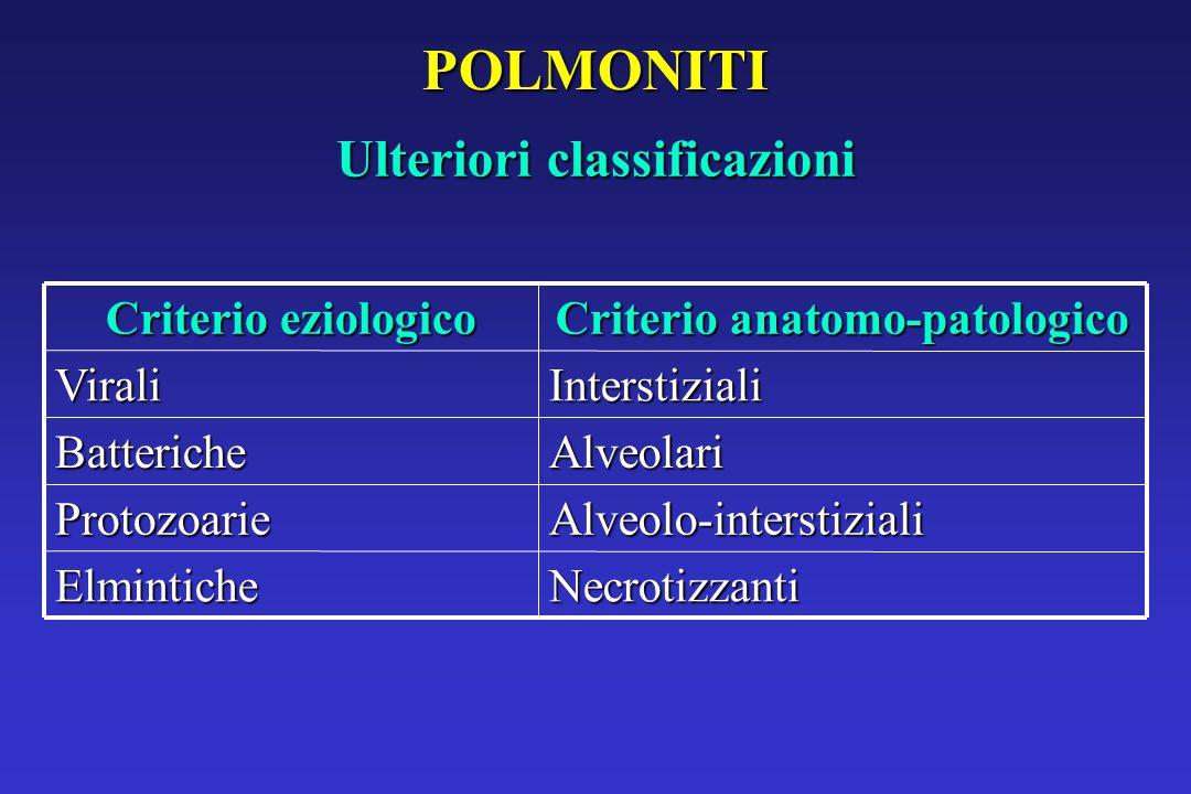 POLMONITI Ulteriori classificazioni NecrotizzantiElmintiche Alveolo-interstizialiProtozoarie AlveolariBatteriche InterstizialiVirali Criterio anatomo-patologico Criterio eziologico