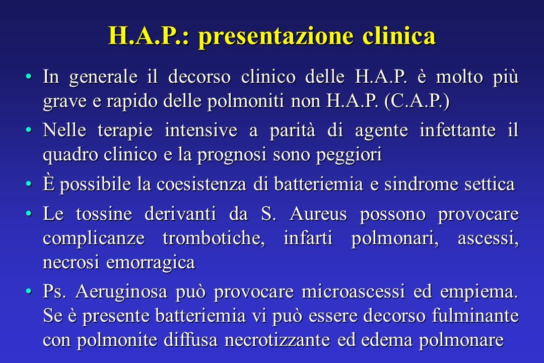 H.A.P.: presentazione clinica In generale il decorso clinico delle H.A.P.